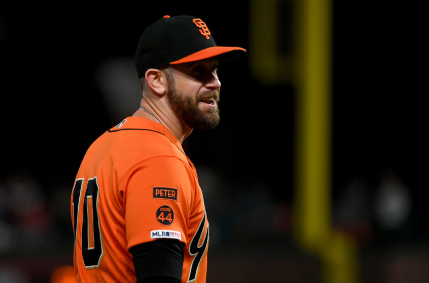 SAN FRANCISCO, CALIFORNIA - SEPTEMBER 27: Evan Longoria #10 of the San Francisco Giants looks on against the Los Angeles Dodgers during their MLB game at Oracle Park on September 27, 2019 in San Francisco, California. (Photo by Robert Reiners/Getty Images)
