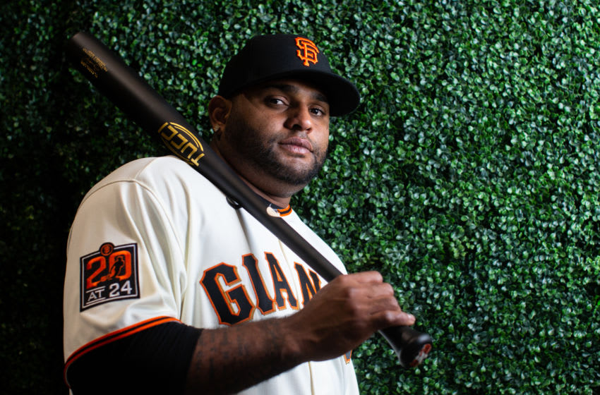 PHOENIX, AZ - FEBRUARY 18: Pablo Sandoval #48 of the San Francisco Giants poses for a portrait on Photo Day at Scottsdale Stadium, the spring training complex of the San Francisco Giants on February 18, 2020 in Phoenix, Arizona. (Photo by Rob Tringali/Getty Images)