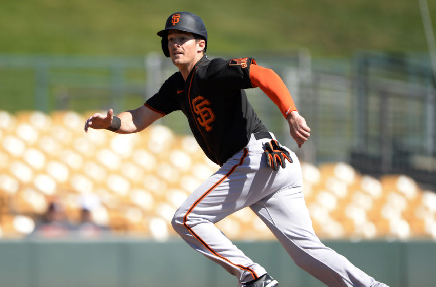 Mike Yastrzemski #5 of the San Francisco Giants runs the bases. (Photo by Ron Vesely/Getty Images)