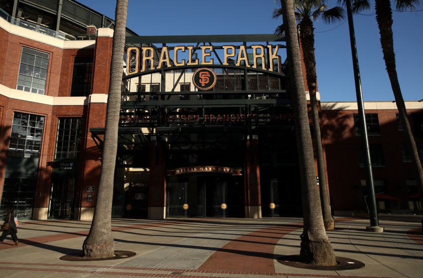 An exterior view of Oracle Park, where the San Francisco Giants play. (Photo by Ezra Shaw/Getty Images)