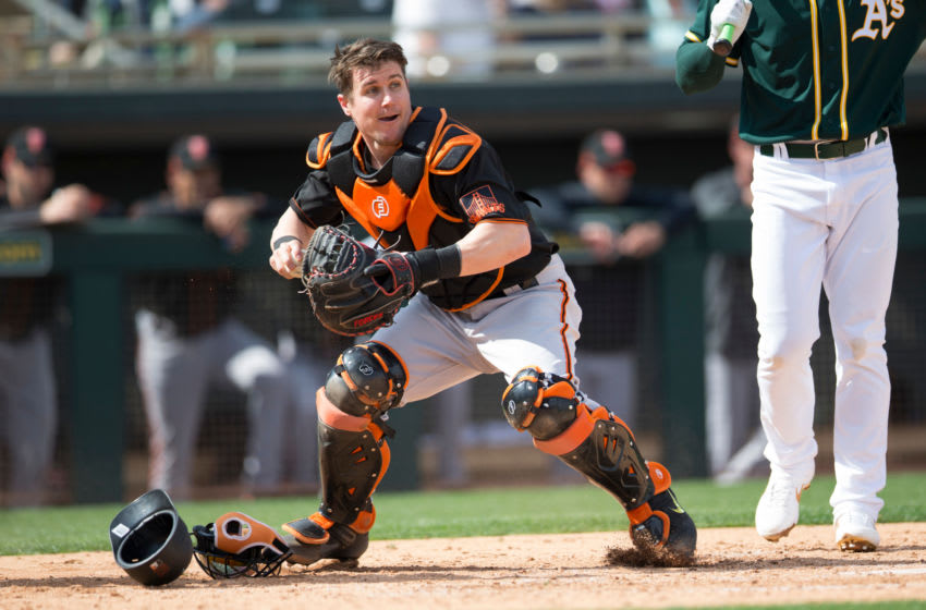 SF Giants catcher Tyler Heineman became a minor-league free agent on Monday. (Photo by Michael Zagaris/Oakland Athletics/Getty Images)