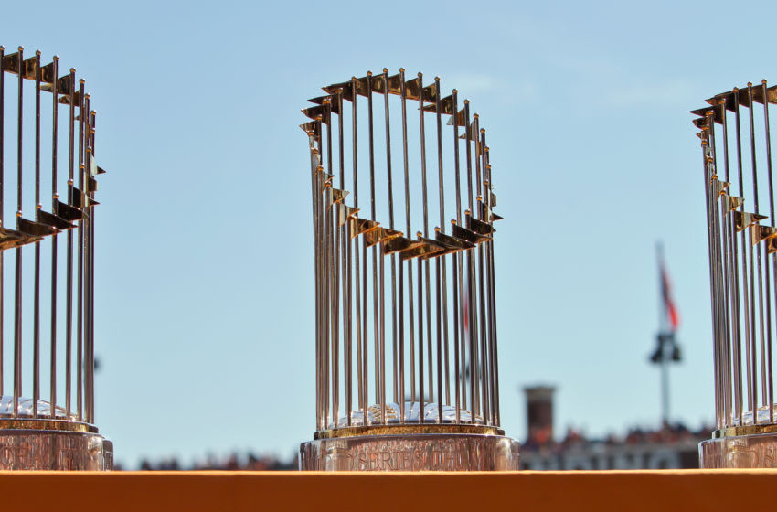 Three of the SF Giants World Series trophies sit on display during a retirement ceremony for pitcher Jeremy Affeldt #41 before a game against the Colorado Rockies at AT&T Park on October 4, 2015 in San Francisco, California, during the final day of the regular season. (Photo by Brian Bahr/Getty Images)