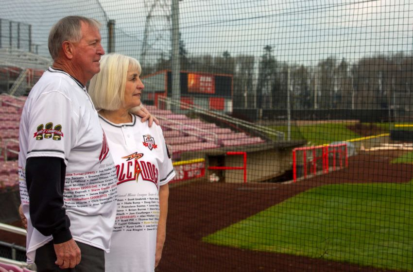 Jerry and JoAnn Wood pose for a portrait at the Volcanoes Stadium in Keizer, Ore. on Dec. 18, 2019. They have been Volcanoes season ticket holders for 23 years. MAIN-5 Volcanoes Portrait Mac T9a7429