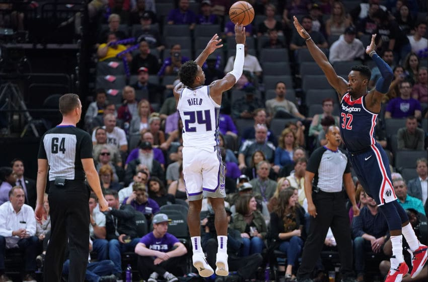 SACRAMENTO, CA - OCTOBER 26: Buddy Hield #24 of the Sacramento Kings shoots over Jeff Green #32 of the Washington Wizards during an NBA basketball game at Golden 1 Center on October 26, 2018 in Sacramento, California. NOTE TO USER: User expressly acknowledges and agrees that, by downloading and or using this photograph, User is consenting to the terms and conditions of the Getty Images License Agreement. (Photo by Thearon W. Henderson/Getty Images)