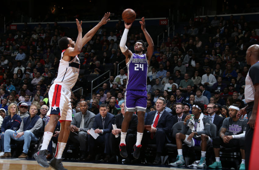 WASHINGTON, DC - MARCH 11: Buddy Hield #24 of the Sacramento Kings shoots the ball against the Washington Wizards on March 11, 2019 at Capital One Arena in Washington, DC. NOTE TO USER: User expressly acknowledges and agrees that, by downloading and or using this Photograph, user is consenting to the terms and conditions of the Getty Images License Agreement. Mandatory Copyright Notice: Copyright 2019 NBAE (Photo by Stephen Gosling/NBAE via Getty Images)