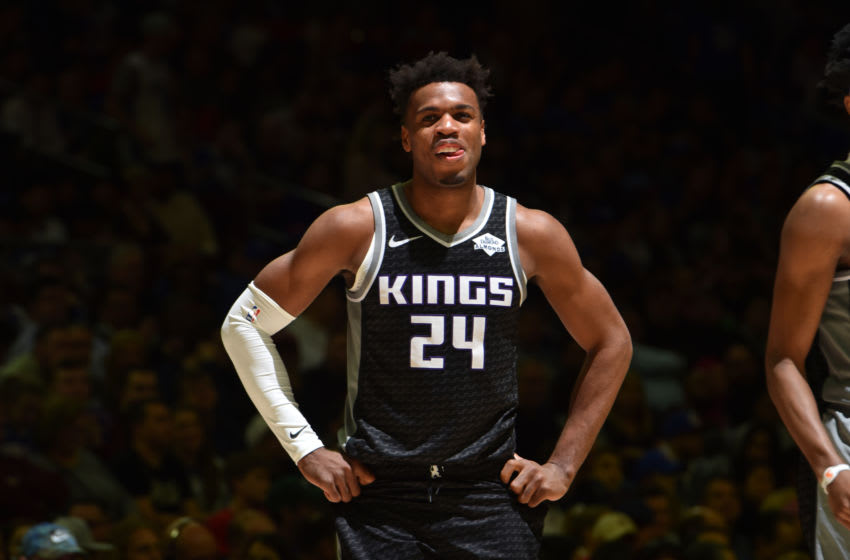 PHILADELPHIA, PA - MARCH 15: Buddy Hield #24 of the Sacramento Kings smiles during a game against the Philadelphia 76ers on March 15, 2019 at the Wells Fargo Center in Philadelphia, Pennsylvania NOTE TO USER: User expressly acknowledges and agrees that, by downloading and/or using this Photograph, user is consenting to the terms and conditions of the Getty Images License Agreement. Mandatory Copyright Notice: Copyright 2019 NBAE (Photo by Jesse D. Garrabrant/NBAE via Getty Images)