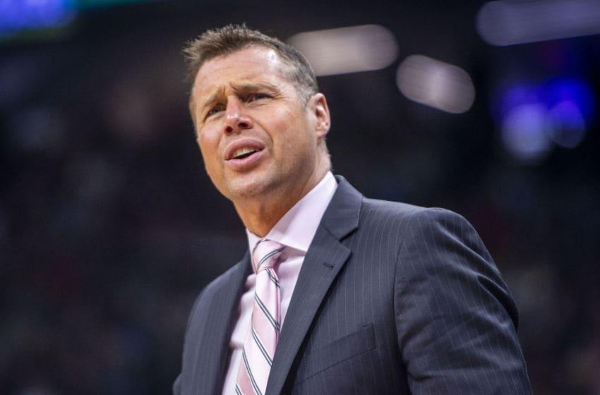Sacramento Kings head coach David Joerger complains about a play against the Dallas Mavericks on Thursday, March 21, 2019, at the Golden 1 Center in Sacramento, Calif. (Hector Amezcua/Sacramento Bee/Tribune News Service via Getty Images)