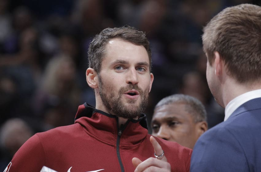 SACRAMENTO, CA - APRIL 4: Kevin Love #0 of the Cleveland Cavaliers looks on during the game against the Sacramento Kings on April 4, 2019 at Golden 1 Center in Sacramento, California. NOTE TO USER: User expressly acknowledges and agrees that, by downloading and or using this photograph, User is consenting to the terms and conditions of the Getty Images Agreement. Mandatory Copyright Notice: Copyright 2019 NBAE (Photo by Rocky Widner/NBAE via Getty Images)