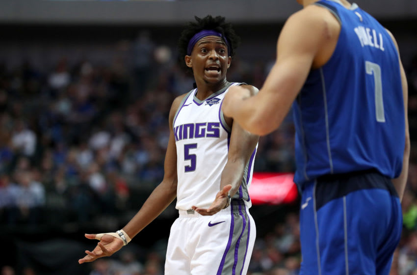 DALLAS, TEXAS - MARCH 26: De'Aaron Fox #5 of the Sacramento Kings reacts against the Dallas Mavericks in the second half at American Airlines Center on March 26, 2019 in Dallas, Texas. NOTE TO USER: User expressly acknowledges and agrees that, by downloading and or using this photograph, User is consenting to the terms and conditions of the Getty Images License Agreement. (Photo by Tom Pennington/Getty Images)