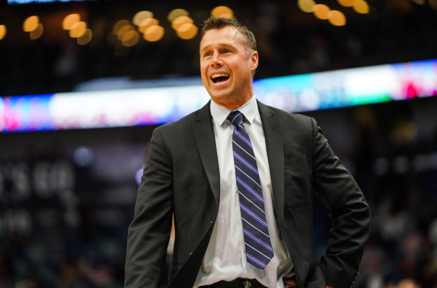 NEW ORLEANS, LOUISIANA - MARCH 28: Head coach of the Sacramento Kings Dave Joerger yells from the sidelines during a game against the New Orleans Pelicans at Smoothie King Center on March 28, 2019 in New Orleans, Louisiana. NOTE TO USER: User expressly acknowledges and agrees that, by downloading and or using this photograph, User is consenting to the terms and conditions of the Getty Images License Agreement. (Photo by Cassy Athena/Getty Images)
