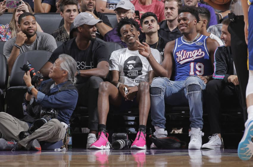 SACRAMENTO, CA - JULY 1: Harrison Barnes #40, De'Aaron Fox #5, Buddy Hield #24 of the Sacramento Kings attend the game against the Golden State Warriors on July 1, 2019 at the Golden 1 Center, in Phoenix, Arizona. NOTE TO USER: User expressly acknowledges and agrees that, by downloading and or using this photograph, User is consenting to the terms and conditions of the Getty Images License Agreement. Mandatory Copyright Notice: Copyright 2019 NBAE (Photo by Rocky Widner/NBAE via Getty Images)