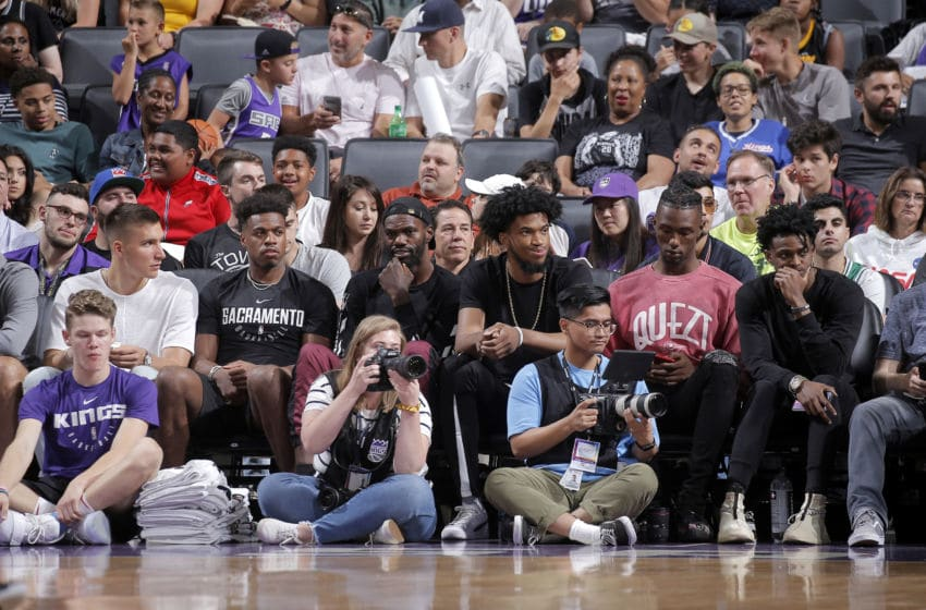SACRAMENTO, CA - JULY 2: Bogdan Bogdanovic #8, Buddy Hield #24, Dewayne Dedmon, Marvin Bagley III #35, Harry Giles #20, and De'Aaron Fox #5 of the Sacramento Kings attend the game against the Miami Heat on July 2, 2019 at Golden 1 Center in Sacramento, California. NOTE TO USER: User expressly acknowledges and agrees that, by downloading and/or using this photograph, user is consenting to the terms and conditions of the Getty Images License Agreement. Mandatory Copyright Notice: Copyright 2019 NBAE (Photo by Rocky Widner/NBAE via Getty Images)