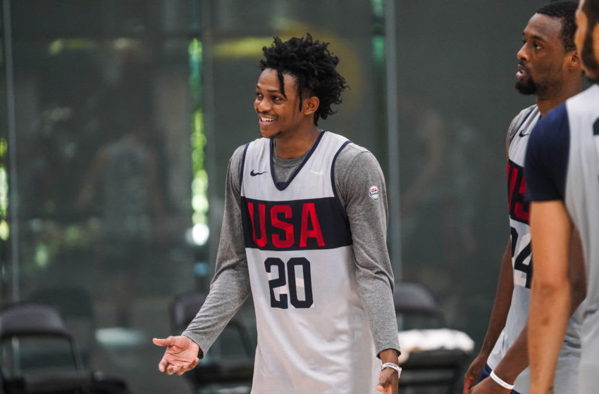 EL SEGUNDO, CALIFORNIA - AUGUST 15: DeAaron Fox smiles during practice at the 2019 USA Men's National Team World Cup training camp at UCLA Health Training Center on August 15, 2019 in El Segundo, California. (Photo by Cassy Athena/Getty Images)
