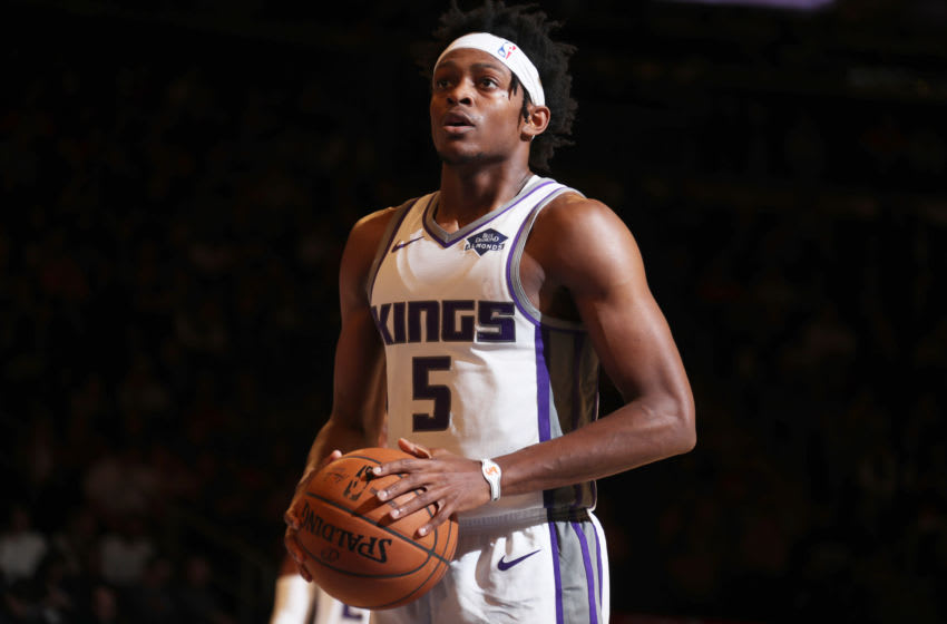NEW YORK, NY - NOVEMBER 3: De'Aaron Fox #5 of the Sacramento Kings shoots a free-throw during a game against the New York Knicks on November 3, 2019 at Madison Square Garden in New York City, New York. NOTE TO USER: User expressly acknowledges and agrees that, by downloading and or using this photograph, User is consenting to the terms and conditions of the Getty Images License Agreement. Mandatory Copyright Notice: Copyright 2019 NBAE (Photo by Nathaniel S. Butler/NBAE via Getty Images)