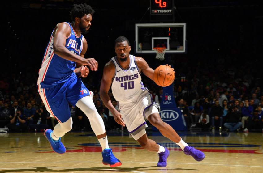 PHILADELPHIA, PA - NOVEMBER 27: Harrison Barnes #40 of the Sacramento Kings handles the ball against Joel Embiid #21 of the Philadelphia 76ers on November 27, 2019 at the Wells Fargo Center in Philadelphia, Pennsylvania NOTE TO USER: User expressly acknowledges and agrees that, by downloading and/or using this Photograph, user is consenting to the terms and conditions of the Getty Images License Agreement. Mandatory Copyright Notice: Copyright 2019 NBAE (Photo by Jesse D. Garrabrant/NBAE via Getty Images)