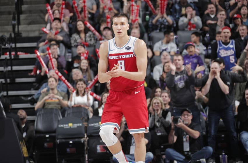 SACRAMENTO, CA - DECEMBER 2: Bogdan Bogdanovic #8 of the Sacramento Kings reacts during a game against the Chicago Bulls on December 2, 2019 at Golden 1 Center in Sacramento, California. NOTE TO USER: User expressly acknowledges and agrees that, by downloading and or using this Photograph, user is consenting to the terms and conditions of the Getty Images License Agreement. Mandatory Copyright Notice: Copyright 2019 NBAE (Photo by Rocky Widner/NBAE via Getty Images)