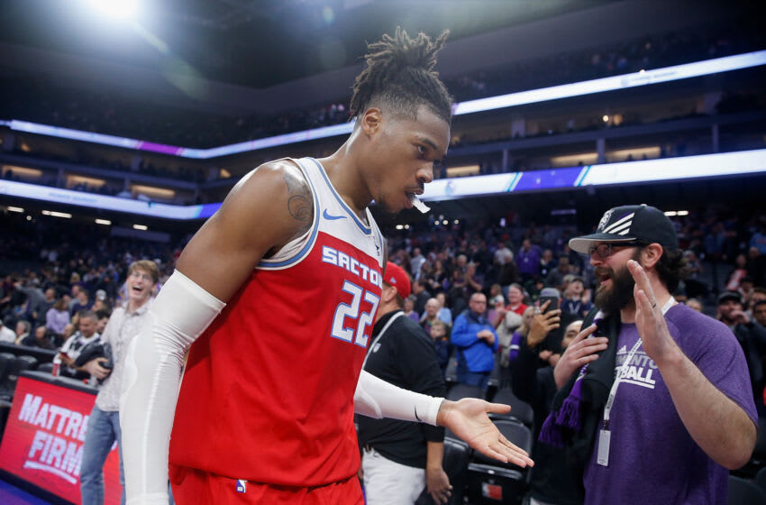 SACRAMENTO, CALIFORNIA - NOVEMBER 30: Richaun Holmes #22 of the Sacramento Kings leaves the court after a win against the Denver Nuggets at Golden 1 Center on November 30, 2019 in Sacramento, California. (Photo by Lachlan Cunningham/Getty Images)