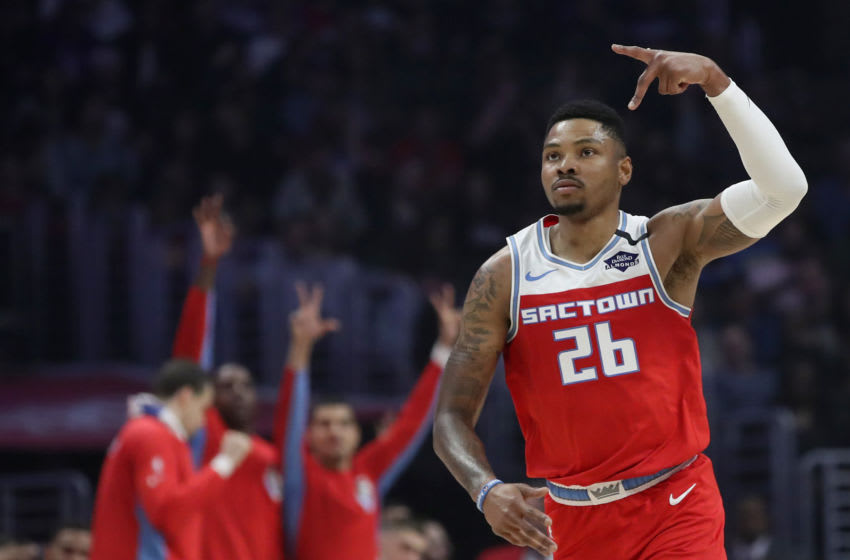 LOS ANGELES, CALIFORNIA - FEBRUARY 22: Kent Bazemore #26 of the Sacramento Kings reacts after making a three point basket during the second quarter in a game against the LA Clippers at Staples Center on February 22, 2020 in Los Angeles, California. NOTE TO USER: User expressly acknowledges and agrees that, by downloading and or using this Photograph, user is consenting to the terms and conditions of the Getty Images License Agreement. (Photo by Katelyn Mulcahy/Getty Images)