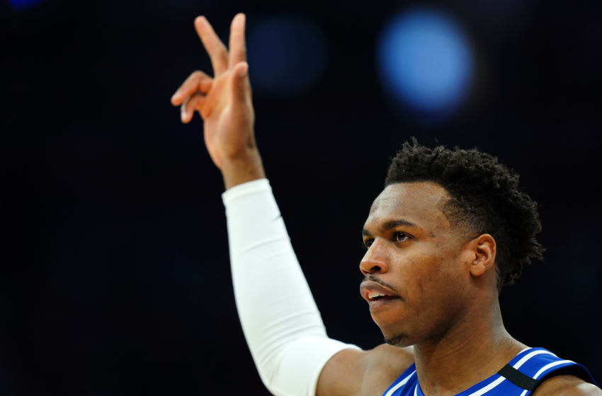 SACRAMENTO, CALIFORNIA - FEBRUARY 20: Buddy Hield #24 of the Sacramento Kings reacts to being recognized for his three-point contest performance in the 202 All-Star contest during the first half against the Memphis Grizzlies at Golden 1 Center on February 20, 2020 in Sacramento, California. NOTE TO USER: User expressly acknowledges and agrees that, by downloading and/or using this photograph, user is consenting to the terms and conditions of the Getty Images License Agreement. (Photo by Daniel Shirey/Getty Images)