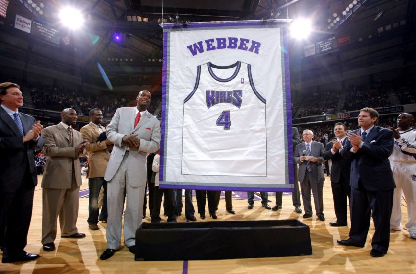 SACRAMENTO, CA - FEBRUARY 6: Former Sacramento King Chris Webber has his jersey retired at halftime against the Utah Jazz at Arco Arena on February 6, 2009 in Sacramento, California. The Jazz won 111-107. NOTE TO USER: User expressly acknowledges and agrees that, by downloading and/or using this Photograph, user is consenting to the terms and conditions of the Getty Images License Agreement. Mandatory Copyright Notice: Copyright 2009 NBAE (Photo by Rocky Widner/NBAE via Getty Images)