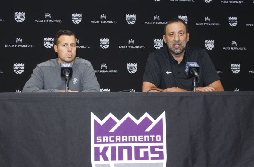 SACRAMENTO, CA - JUNE 24: Head Coach Dave Joerger and General Manager Vlade Divac of the Sacramento Kings address the media at a press conference on September 27, 2017 at the Golden 1 Center in Sacramento, California. NOTE TO USER: User expressly acknowledges and agrees that, by downloading and/or using this Photograph, user is consenting to the terms and conditions of the Getty Images License Agreement. Mandatory Copyright Notice: Copyright 2017 NBAE (Photo by Rocky Widner/NBAE via Getty Images)