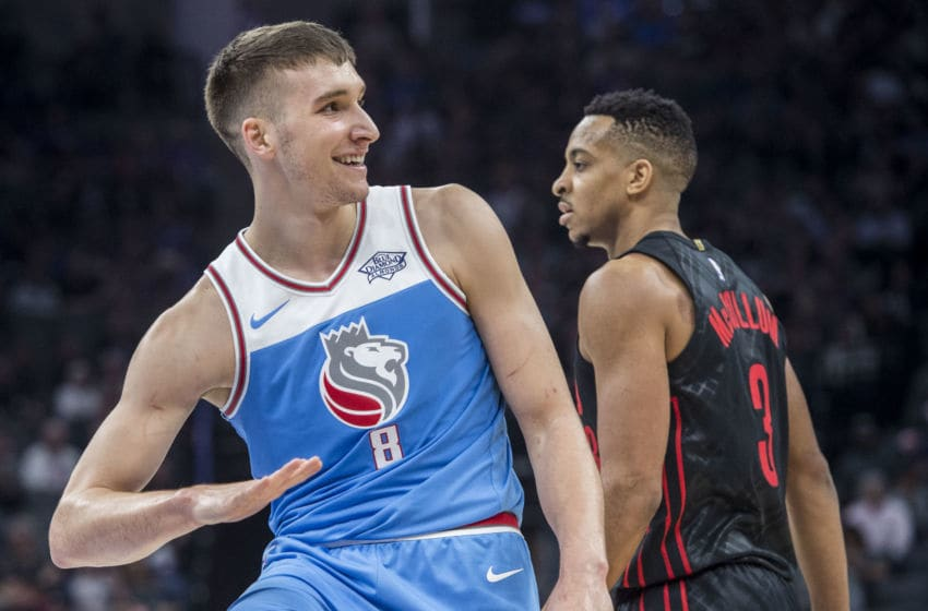 The Sacramento Kings' Bogdan Bogdanovic (8) ask for the ball after an out of bounds call in action against the Portland Trail Blazers at the Golden 1 Center in Sacramento Calif., on February 9, 2018. (Hector Amezcua/Sacramento Bee/TNS via Getty Images)