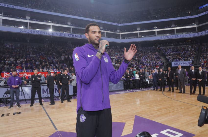 SACRAMENTO, CA - APRIL 11: Willie Cauley-Stein #00 of the Sacramento Kings speaks to fans prior to the game against the Houston Rockets on April 11, 2018 at Golden 1 Center in Sacramento, California. NOTE TO USER: User expressly acknowledges and agrees that, by downloading and or using this photograph, User is consenting to the terms and conditions of the Getty Images Agreement. Mandatory Copyright Notice: Copyright 2018 NBAE (Photo by Rocky Widner/NBAE via Getty Images)