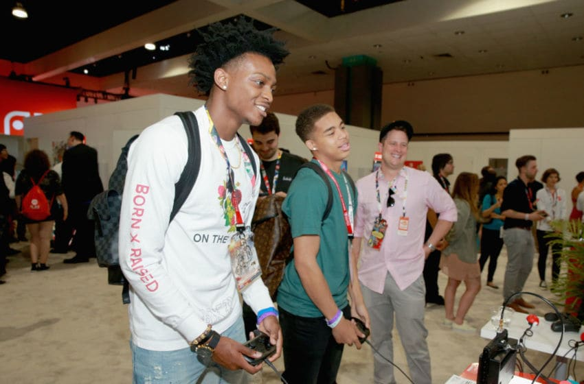 LOS ANGELES, CA - JUNE 12: De'Aaron Fox visits the Nintendo booth during the 2018 E3 Gaming Convention at Los Angeles Convention Center on June 12, 2018 in Los Angeles, California. (Photo by Rich Fury/Getty Images for Nintendo)