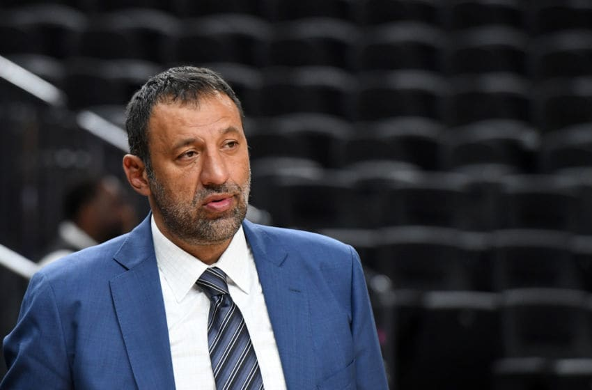 LAS VEGAS, NV - OCTOBER 08: Vice president of basketball operations and general manager of the Sacramento Kings Vlade Divac watches warmups before the team's preseason game against the Los Angeles Lakers at T-Mobile Arena on October 8, 2017 in Las Vegas, Nevada. Los Angeles won 75-69. NOTE TO USER: User expressly acknowledges and agrees that, by downloading and or using this photograph, User is consenting to the terms and conditions of the Getty Images License Agreement. (Photo by Ethan Miller/Getty Images)