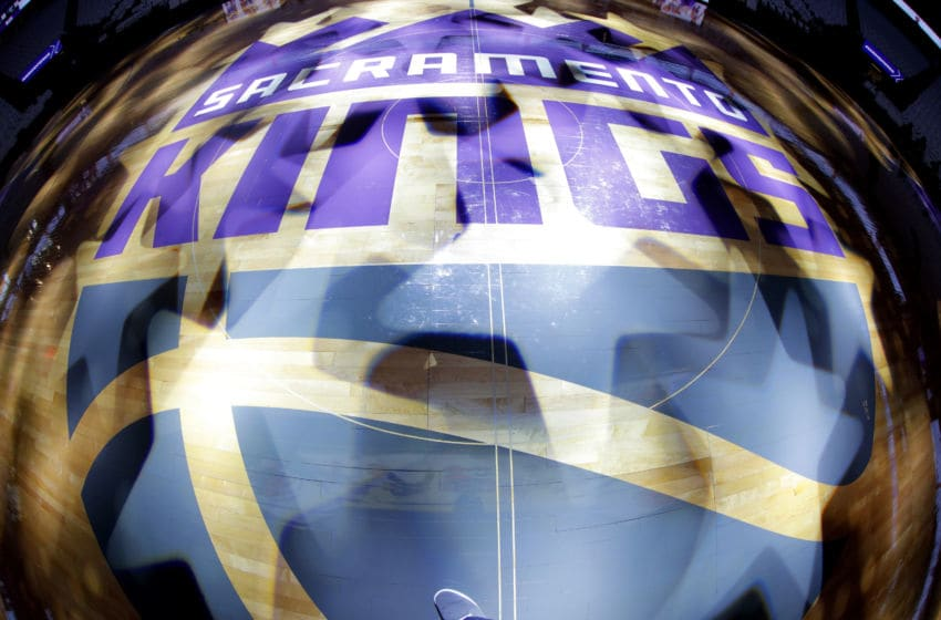 SACRAMENTO, CA - OCTOBER 17: A shot of the Sacramento Kings logo on the court prior to the game against the Utah Jazz on October 17, 2018 at Golden 1 Center in Sacramento, California. NOTE TO USER: User expressly acknowledges and agrees that, by downloading and or using this photograph, User is consenting to the terms and conditions of the Getty Images Agreement. Mandatory Copyright Notice: Copyright 2018 NBAE (Photo by Rocky Widner/NBAE via Getty Images)