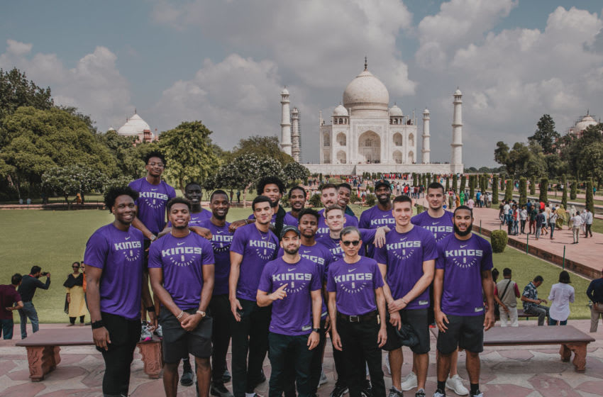 AGRA, INDIA - OCTOBER 2: The Sacramento Kings poses for a team portrait at the Taj Mahal on October 2, 2019 in Agra, India. NOTE TO USER: User expressly acknowledges and agrees that, by downloading and or using this Photograph, user is consenting to the terms and conditions of the Getty Images License Agreement. Mandatory Copyright Notice: Copyright 2019 NBAE (Photo by Paige Dall/NBAE via Getty Images)