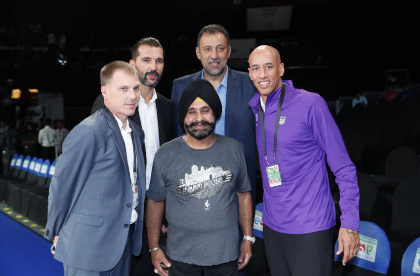 MUMBAI, INDIA - OCTOBER 4: Jason Williams, Peja Stojakovic, Vlade Divac, Doug Christie and Nav Bhatia pose for a portrait during the game at the NSCI Dome on October 4, 2019 in Mumbai, India. NOTE TO USER: User expressly acknowledges and agrees that, By downloading and or using this Photograph, user is consenting to the terms and conditions of the Getty Images License Agreement. Mandatory Copyright Notice: Copyright 2019 NBAE (Photo by Jeff Haynes/NBAE via Getty Images)