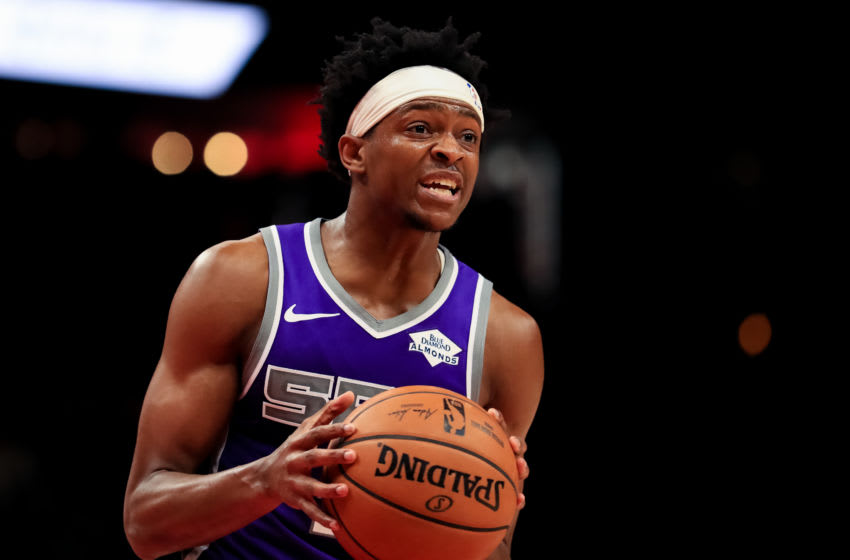 ATLANTA, GA - NOVEMBER 8: De'Aaron Fox #5 of the Sacramento Kings in action during a game against the Atlanta Hawks at State Farm Arena on November 8, 2019 in Atlanta, Georgia. NOTE TO USER: User expressly acknowledges and agrees that, by downloading and or using this photograph, User is consenting to the terms and conditions of the Getty Images License Agreement. (Photo by Carmen Mandato/Getty Images)