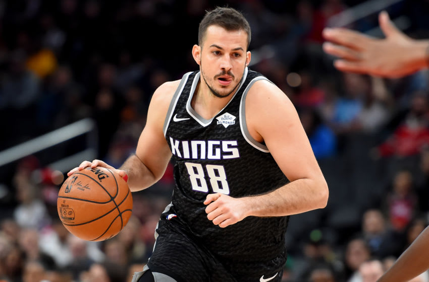 WASHINGTON, DC - NOVEMBER 24: Nemanja Bjelica #88 of the Sacramento Kings dribbles against the Washington Wizards during the first half at Capital One Arena on November 24, 2019 in Washington, DC. NOTE TO USER: User expressly acknowledges and agrees that, by downloading and or using this photograph, User is consenting to the terms and conditions of the Getty Images License Agreement. (Photo by Will Newton/Getty Images)
