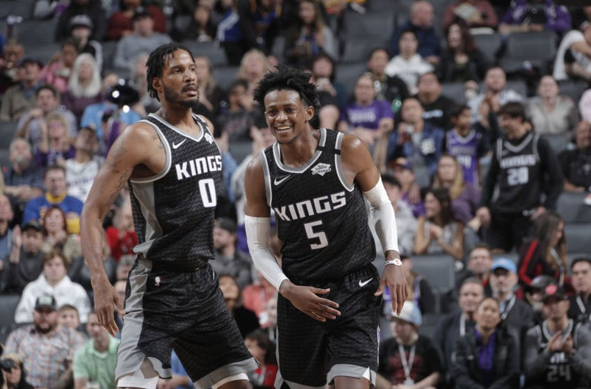 SACRAMENTO, CA - JANUARY 6: De'Aaron Fox #5 of the Sacramento Kings smiles during a game against the Golden State Warriors on January 6, 2020 at Golden 1 Center in Sacramento, California. NOTE TO USER: User expressly acknowledges and agrees that, by downloading and or using this Photograph, user is consenting to the terms and conditions of the Getty Images License Agreement. Mandatory Copyright Notice: Copyright 2020 NBAE (Photo by Rocky Widner/NBAE via Getty Images)