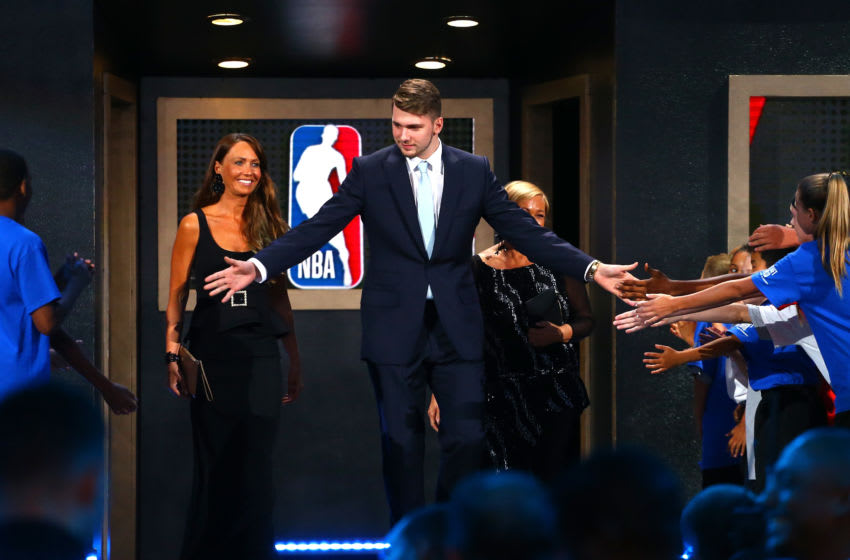 NEW YORK, NY - JUNE 21: Luka Doncic is introduced before the 2018 NBA Draft at the Barclays Center on June 21, 2018 in the Brooklyn borough of New York City. NOTE TO USER: User expressly acknowledges and agrees that, by downloading and or using this photograph, User is consenting to the terms and conditions of the Getty Images License Agreement. (Photo by Mike Stobe/Getty Images)