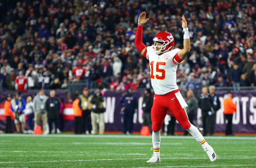 FOXBOROUGH, MA - OCTOBER 14: Patrick Mahomes #15 of the Kansas City Chiefs reacts after a touchdown in the fourth quarter of.a game against the New England Patriots at Gillette Stadium on October 14, 2018 in Foxborough, Massachusetts. (Photo by Adam Glanzman/Getty Images)