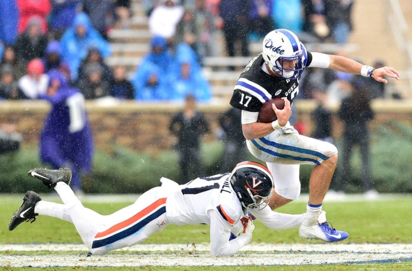 DURHAM, NC - OCTOBER 20: Juan Thornhill #21 of the Virginia Cavaliers tackles Daniel Jones #17 of the Duke Blue Devils during their game at Wallace Wade Stadium on October 20, 2018 in Durham, North Carolina. (Photo by Grant Halverson/Getty Images)