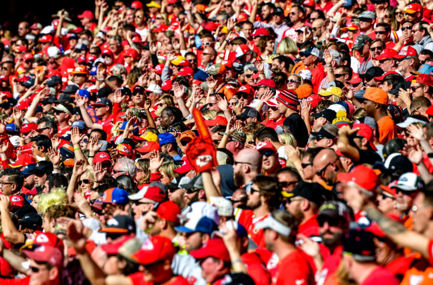 KANSAS CITY, MO - OCTOBER 28: Kansas City Chiefs fans do the chop while cheering at the end of the game against the Denver Broncos at Arrowhead Stadium on October 28, 2018 in Kansas City, Missouri. (Photo by Peter Aiken/Getty Images)