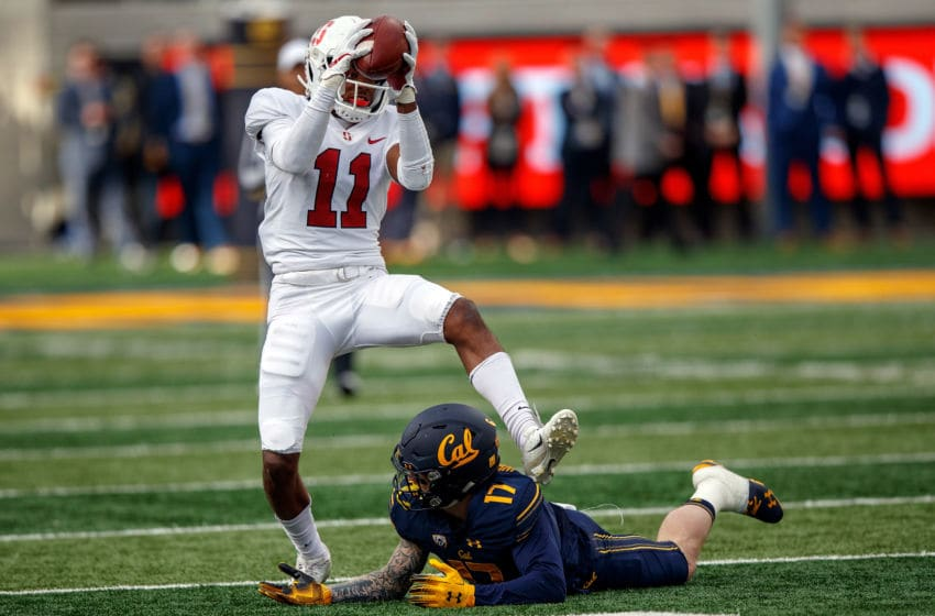 BERKELEY, CA - DECEMBER 01: Cornerback Paulson Adebo #11 of the Stanford Cardinal intercepts a pass intended for wide receiver Vic Wharton III #17 of the California Golden Bears during the fourth quarter at California Memorial Stadium on December 1, 2018 in Berkeley, California. The Stanford Cardinal defeated the California Golden Bears 23-13. (Photo by Jason O. Watson/Getty Images)