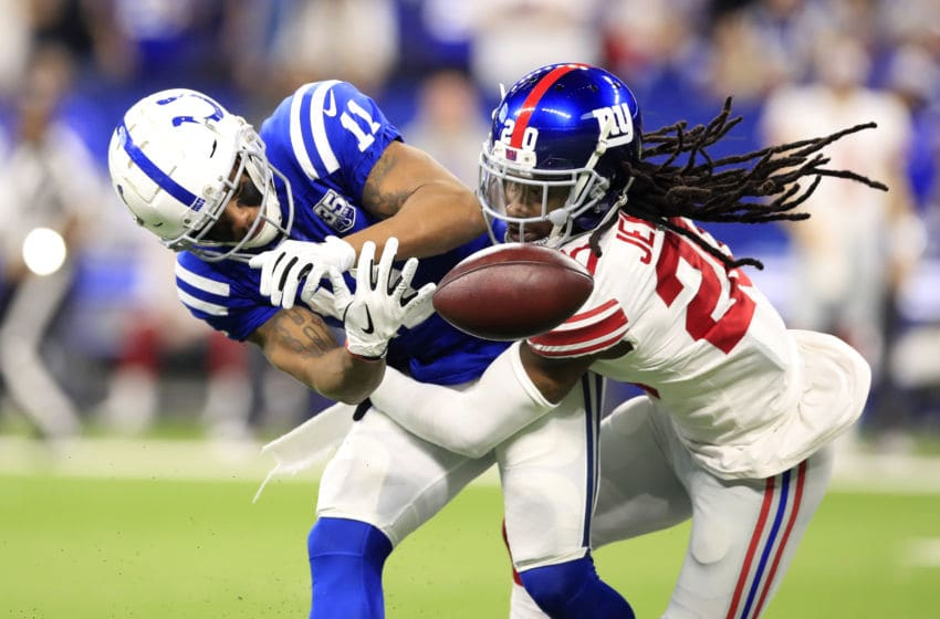 INDIANAPOLIS, INDIANA - DECEMBER 23: Ryan Grant #11 of the Indianapolis Colts attempts to catch a pass in the game against Janoris Jenkins #20 of the New York Giants at Lucas Oil Stadium on December 23, 2018 in Indianapolis, Indiana. (Photo by Andy Lyons/Getty Images)