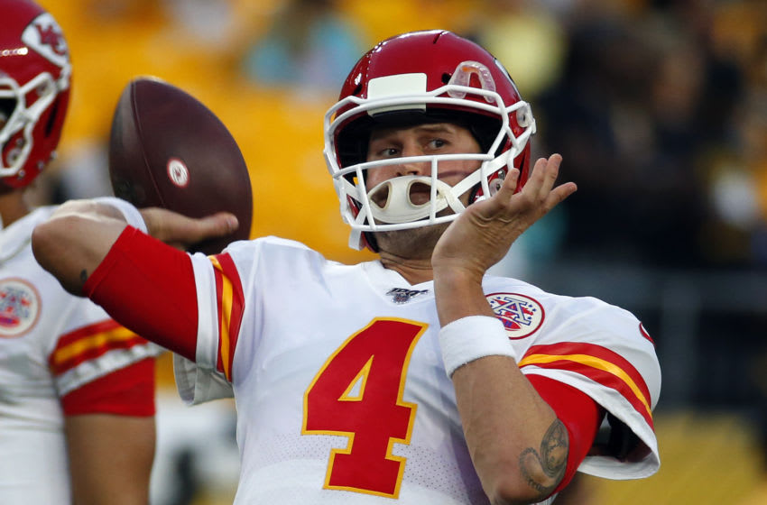 PITTSBURGH, PA - AUGUST 17: Chad Henne #4 of the Kansas City Chiefs in action during a preseason game against the Pittsburgh Steelers on August 17, 2019 at Heinz Field in Pittsburgh, Pennsylvania. (Photo by Justin K. Aller/Getty Images)