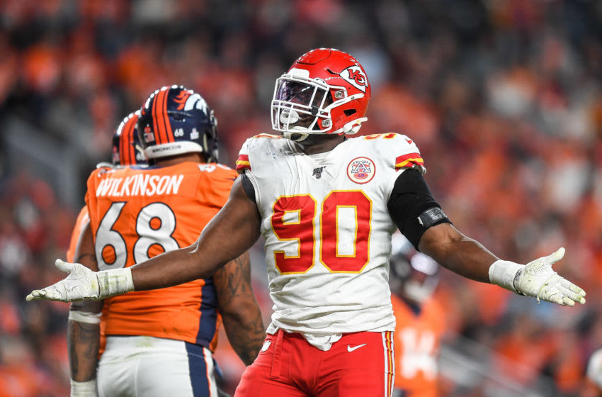 DENVER, CO - OCTOBER 17: Emmanuel Ogbah #90 of the Kansas City Chiefs celebrates after blocking a pass attempt against the Denver Broncos in the third quarter at Empower Field at Mile High on October 17, 2019 in Denver, Colorado. (Photo by Dustin Bradford/Getty Images)