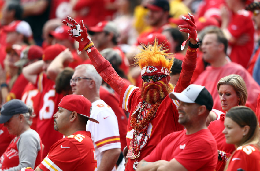 KANSAS CITY, MISSOURI - SEPTEMBER 22: A Kansas City Chiefs fan cheers during the game against the Baltimore Ravens at Arrowhead Stadium on September 22, 2019 in Kansas City, Missouri. (Photo by Jamie Squire/Getty Images)