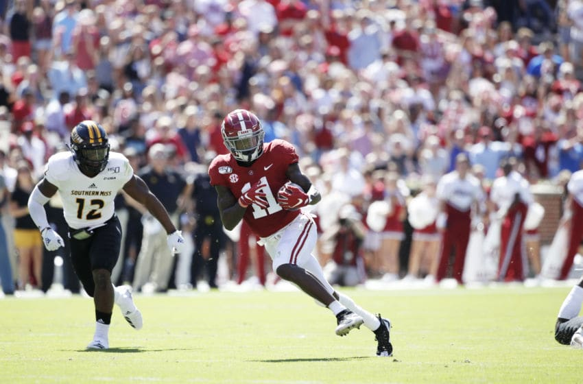 TUSCALOOSA, AL - SEPTEMBER 21: Henry Ruggs III #11 of the Alabama Crimson Tide runs for a touchdown after catching a pass during a game against the Southern Mississippi Golden Eagles at Bryant-Denny Stadium on September 21, 2019 in Tuscaloosa, Alabama. Alabama defeated Southern Miss 49-7. (Photo by Joe Robbins/Getty Images)
