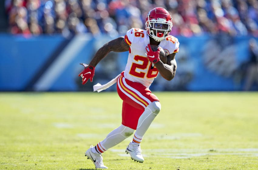 NASHVILLE, TN - NOVEMBER 10: Damien Williams #26 of the Kansas City Chiefs runs the ball during the first half of a game against Tennessee Titans at Nissan Stadium on November 10, 2019 in Nashville, Tennessee. (Photo by Wesley Hitt/Getty Images)