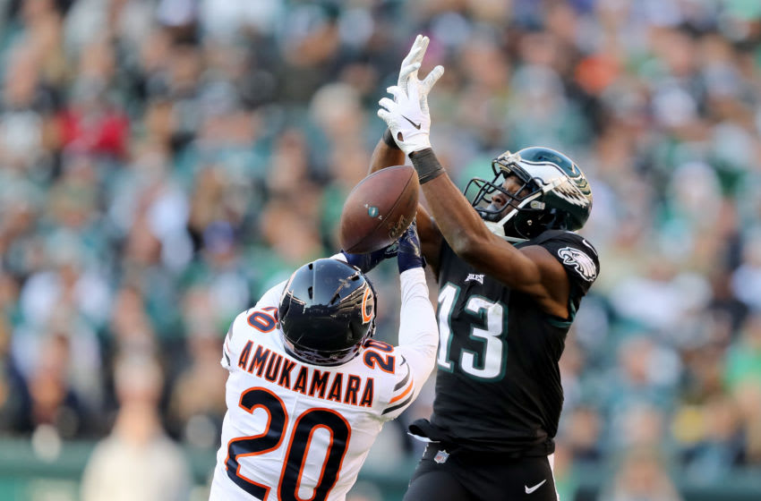 PHILADELPHIA, PENNSYLVANIA - NOVEMBER 03: Prince Amukamara #20 of the Chicago Bears breaks up a pass intended for Nelson Agholor #13 of the Philadelphia Eagles at Lincoln Financial Field on November 03, 2019 in Philadelphia, Pennsylvania.The Philadelphia Eagles defeated the Chicago Bears 22-14. (Photo by Elsa/Getty Images)