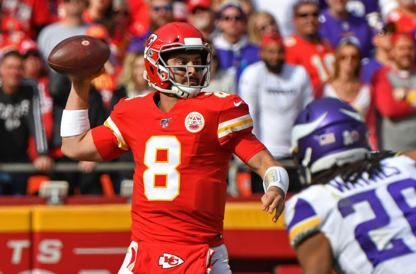 KANSAS CITY, MO - NOVEMBER 03: Quarterback Matt Moore #8 of the Kansas City Chiefs throws a pass against the Minnesota Vikings during the first half at Arrowhead Stadium on November 3, 2019 in Kansas City, Missouri. (Photo by Peter G. Aiken/Getty Images)
