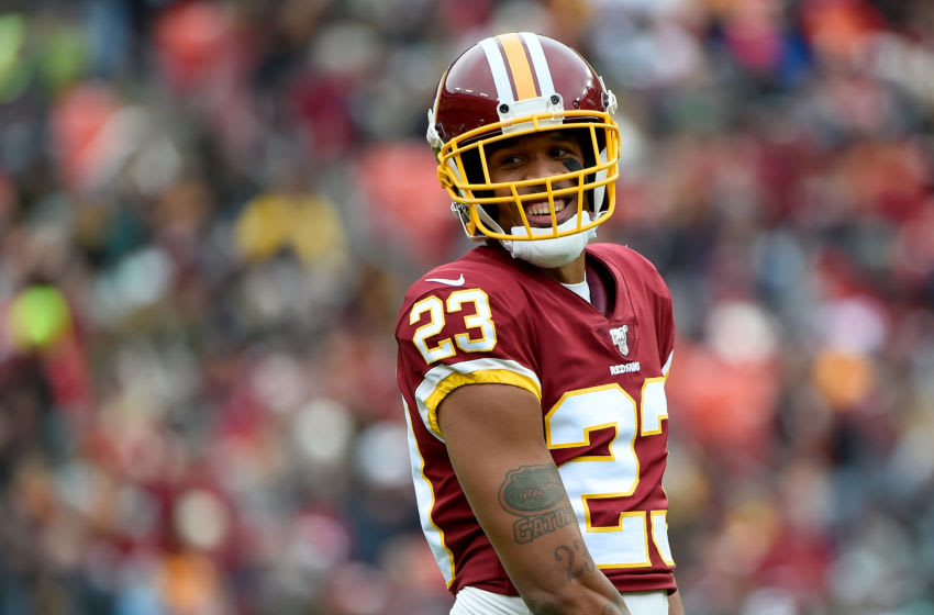 LANDOVER, MD - NOVEMBER 17: Quinton Dunbar #23 of the Washington Redskins looks on during the first half against the New York Jets at FedExField on November 17, 2019 in Landover, Maryland. (Photo by Will Newton/Getty Images)