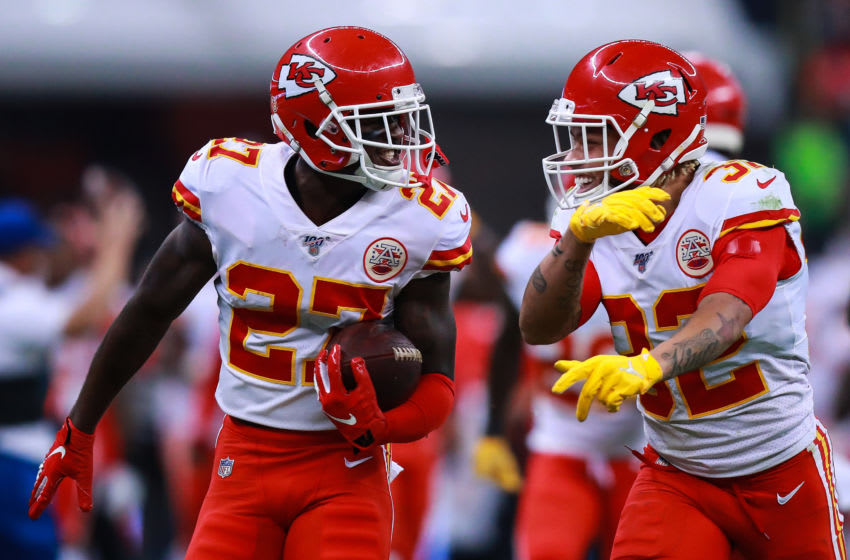 MEXICO CITY, MEXICO - NOVEMBER 18: Defensive back Rashad Fenton #27 of the Kansas City Chiefs and teammate Tyrann Mathieu #32 of the Kansas City Chiefs celebrates Fenton's interception in the fourth quarter over the Los Angeles Chargers at Estadio Azteca on November 18, 2019 in Mexico City, Mexico. (Photo by Manuel Velasquez/Getty Images)